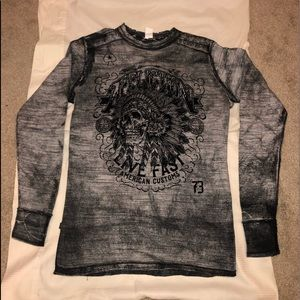 Affliction reversible thermal  Distressed Shirt!
